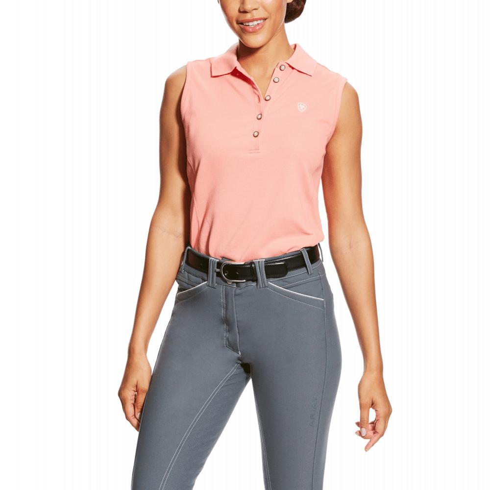 Ariat Ariat Womens Prix Sleeveless Polo Shirt - Peach Twig