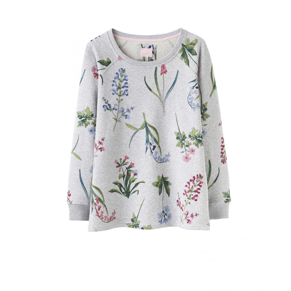 Joules Aylesham Womens Printed Crew Neck Sweatshirt - Grey Marl Botanical 41497a216d