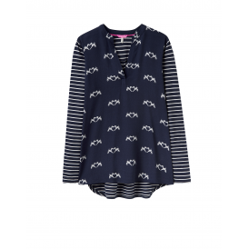 Joules Beatrice Womens V Neck Printed Jersey - Navy Fox Terrier
