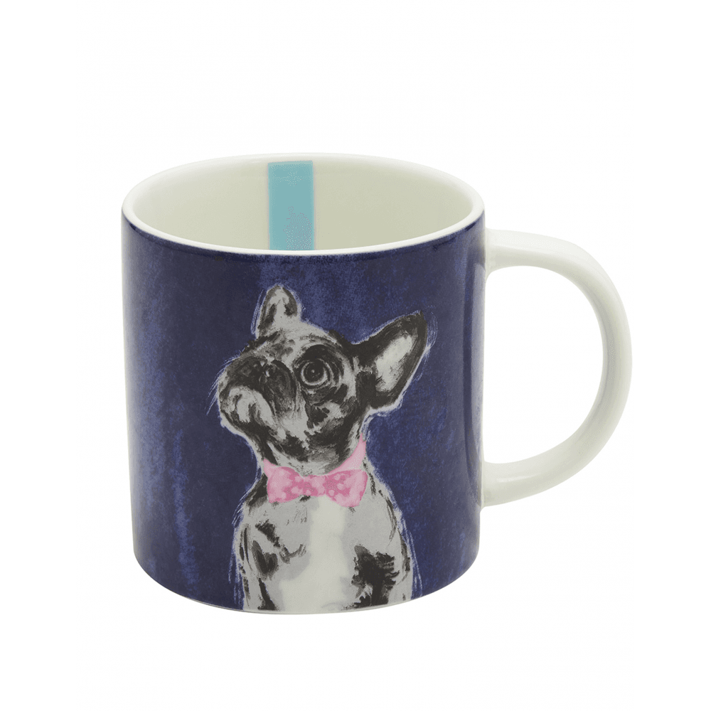 Joules Cuppa Porcelain Mug With Print Detail Bowtie French Bulldog