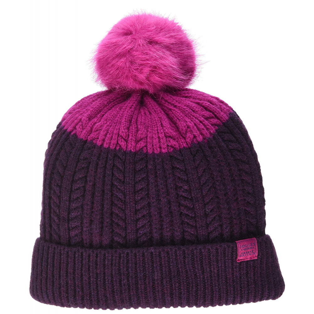 25b01d5cd44cd Joules Fine Cable Bobble Hat With Faux Fur Pom - Ruby - Clothing ...