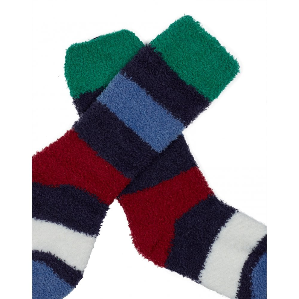 Joules Girls Fluffy Socks PINK MULTI STRIPE