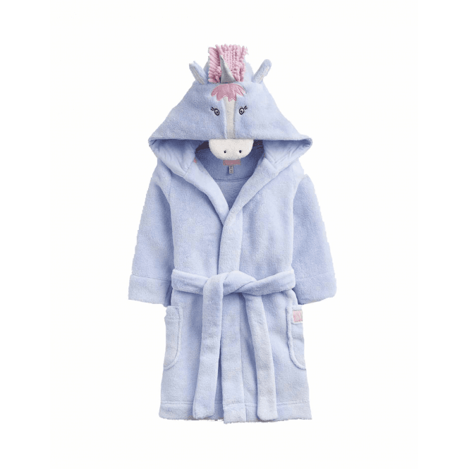 Joules Junior Novelty Unicorn Hood Dressing Gown Sky Blue Unicorn Clothing From