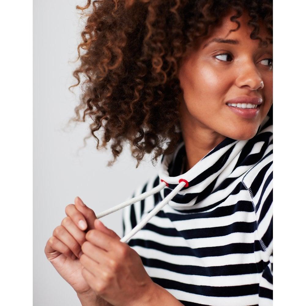 Joules Ladies Mayston Funnel Neck Velour Sweatshirt CREAM GOLD STRIPE RRP £44.95