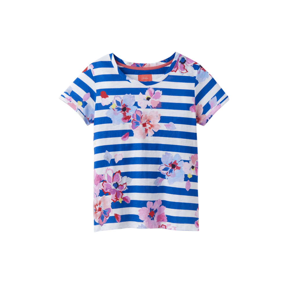 f8380c283538bf Joules Nessa Womens Printed Jersey T-Shirt - Blue Stripe Floral ...