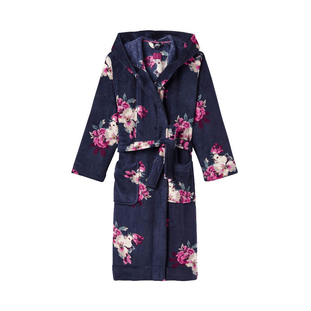 Joules Rita Womens Fluffy Dressing Gown - French Navy Bircham Bloom ... d0faee569