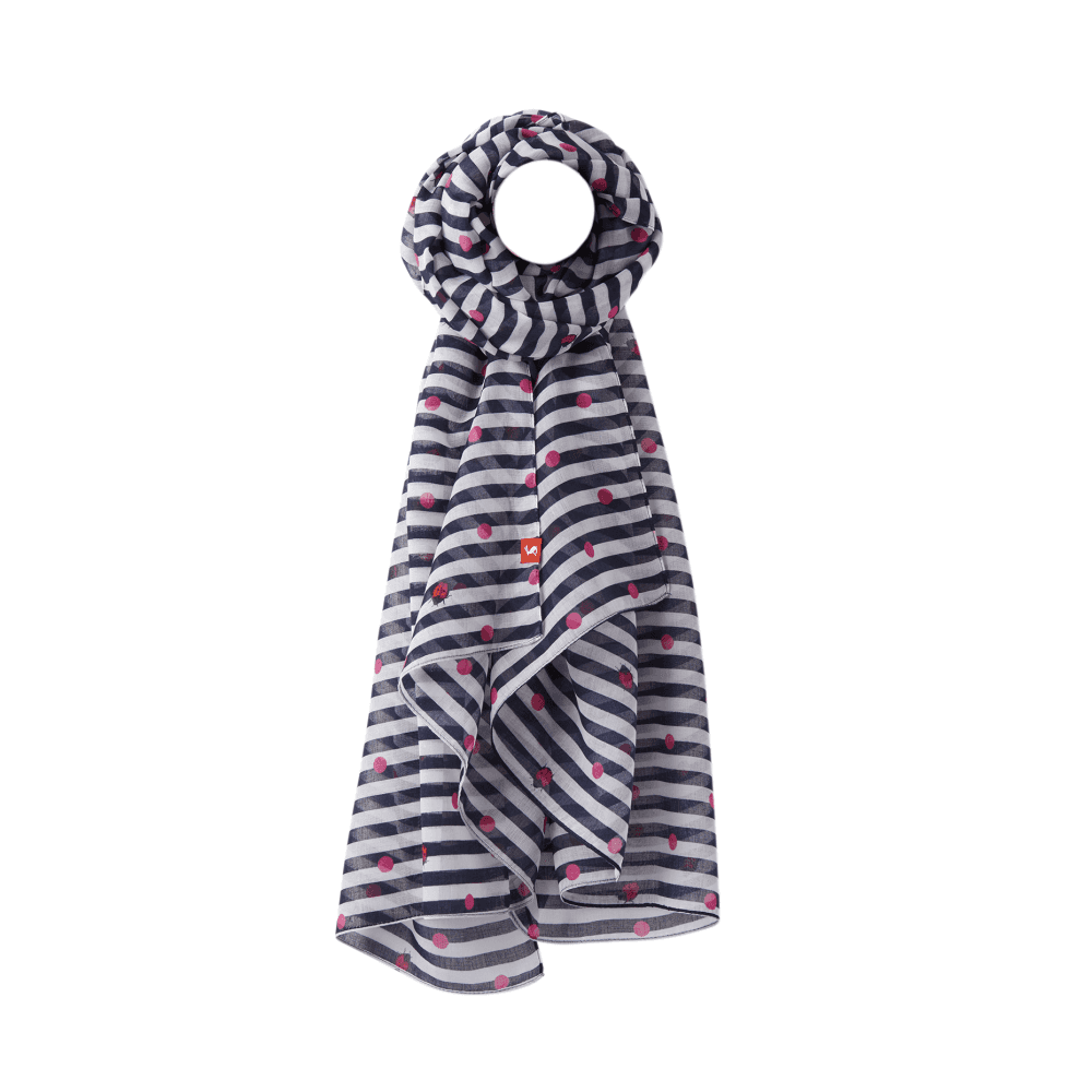 6f06e1272 Joules Wensley Womens Longline Printed Polyester Scarf - Navy ...