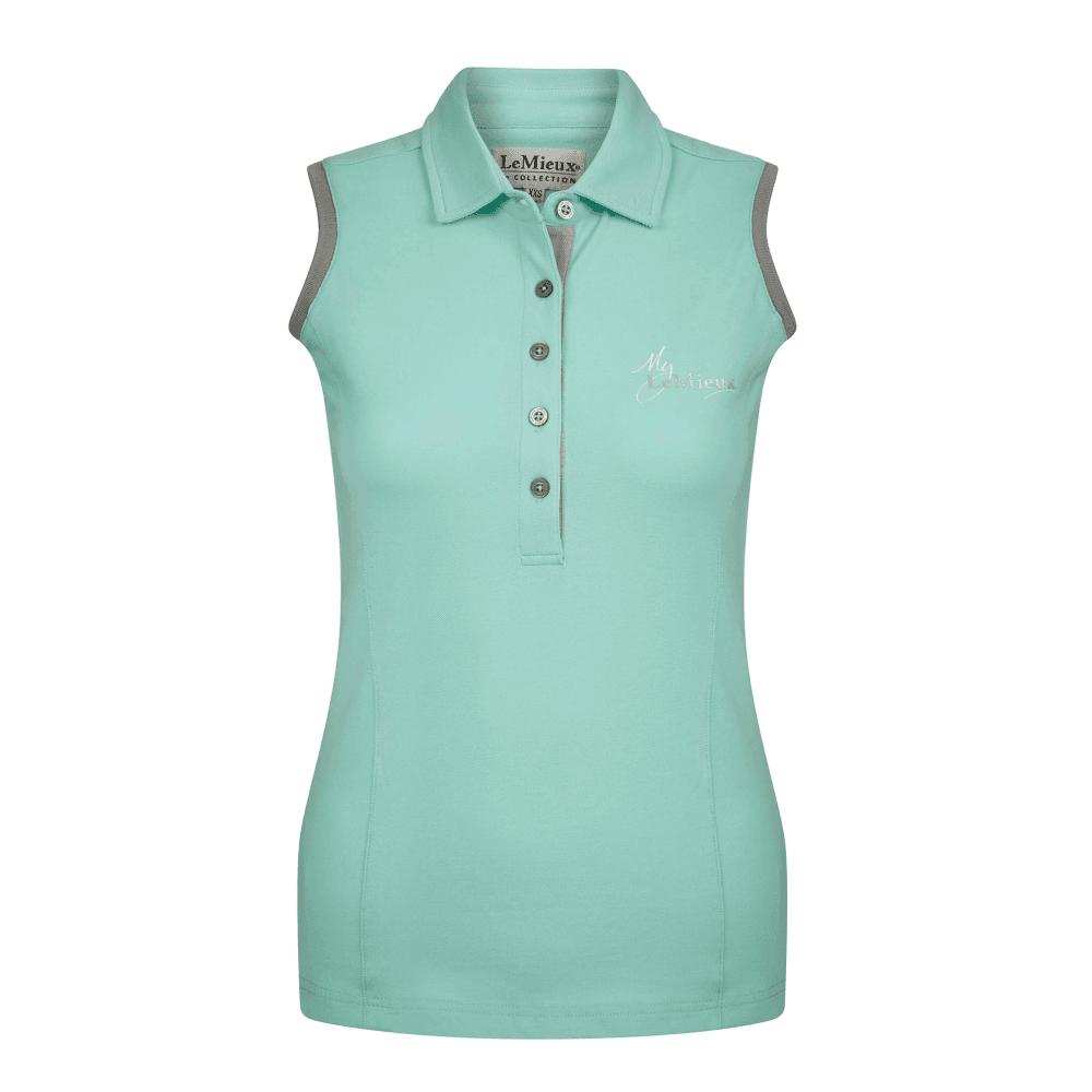 LeMieux LeMieux My LeMieux Womens Sleeveless Polo Shirt - Mint/Grey