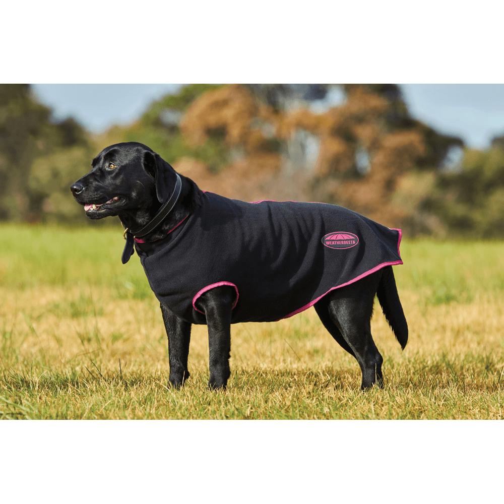 Weatherbeeta Fleece Zip Dog Coat Black Boysenberry Dog From