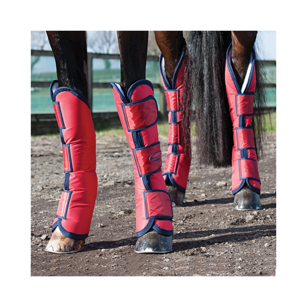 Weatherbeeta Wide Tab Long Horse Travel Boots Red//Navy